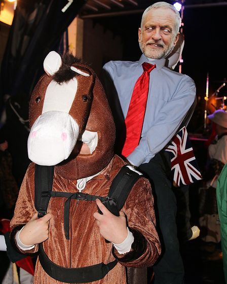 One of the contestants in the panto horse race at the Holt Christmas Lights switch-on 2019. Picture: