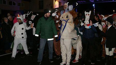 Teams get ready for the pantomime horse race at the Holt Christmas Lights switch-on 2019. Picture: A