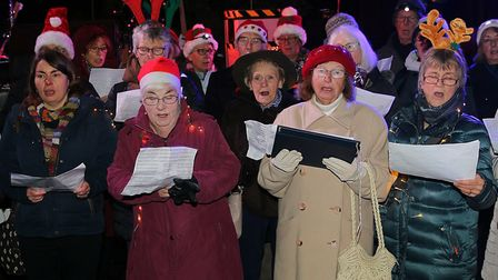 Singers at the Holt Christmas Lights switch-on 2019. Picture: Alan Raymond Palmer