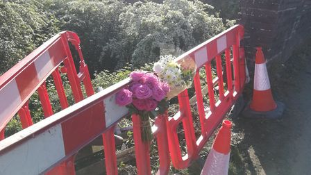 Floral tribues were left at the scene of the fatal accident on the B1145 at Cawston, Norfolk. Pictur