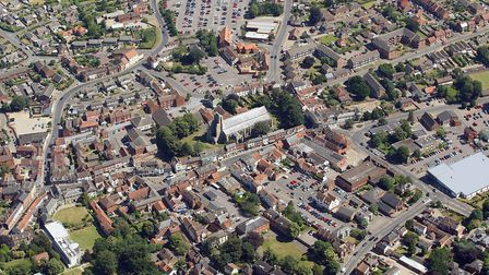 Aerial view of North Walsham. A £2m scheme will regenerate the town's historic core. Picture: Mike P