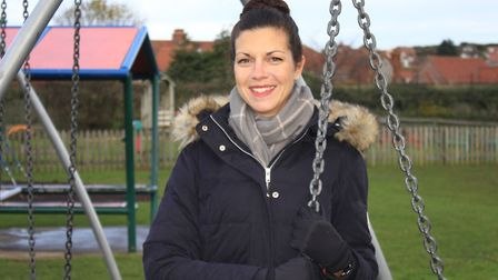Sheringham Playpark Revamp Group founder member Emma White at the Cromer Road playground, which has