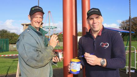 Sheringham Playpark Revamp Group committee member Rob Emery (right) with collegue Dave Harding, who