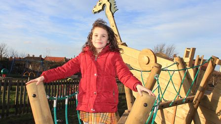 Skye Jefferson-Pye playing on the Viking Ship installed at Sheringham playground as part of a £45,00