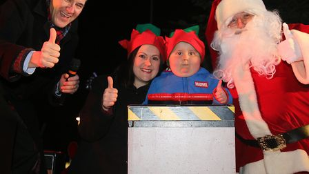 Benny Pitcher turned on the lights at the Holt Christmas Lights switch-on 2019. He is pictured with