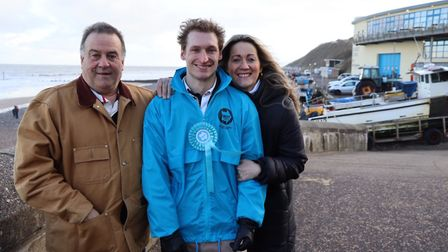 Harry Gwynne, the Brexit Party's candidate for North Norfolk in the 2019 General Election, centre, w