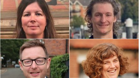 Candidates for the North Norfolk seat in the 2019 General Election, clockwise from top left, Emma Co