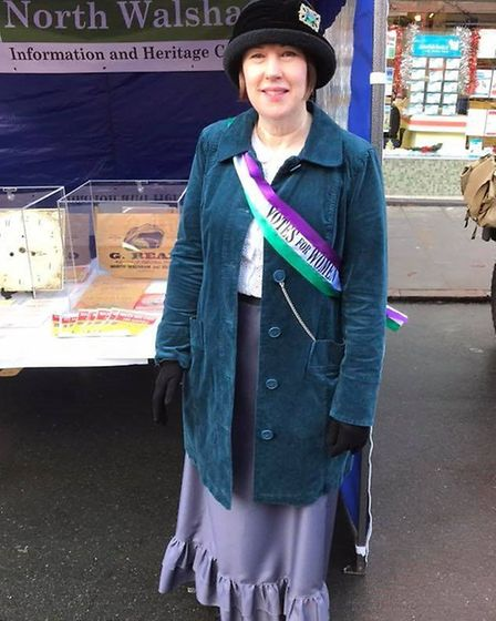 Diana Velhagen as a suffragette –highlighting the absence of women on a North Walsham electoral roll