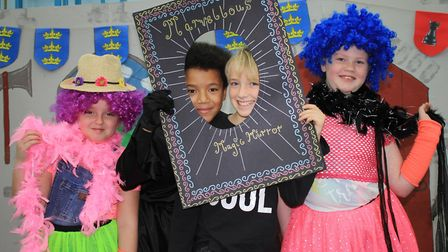 Alfie and Nelson as Marvin the Magic Mirror and Lilia and Amelia at Colin Calvin and Keith Klein in