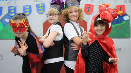 Kaley and Fredie as Dusty the Dragon and Scarlett and Elliot as Lester Lugboat in Cromer Junior Sch