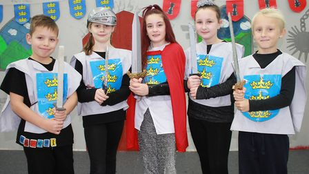 Year 5 cast members in Cromer Junior School's Christmas production, What a Knight!Photo: KAREN BETHE