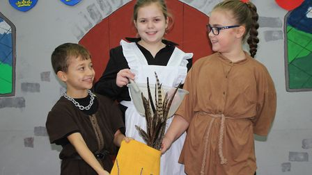 Daisy as Kitty Cobblers with Oscar and Millie, who shared the role of her son Watt.Photo: KAREN BETH