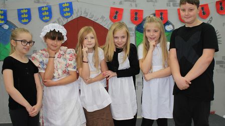 Maids Amina, Ruby, Ruby and Connie with backstage crew members Rebecca (left) and Harvey.Photo: KARE