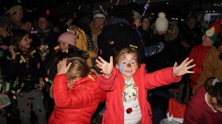 A confetti cannon was one of the attractions at Sheringham Christmas lights switch-on celebrations.P