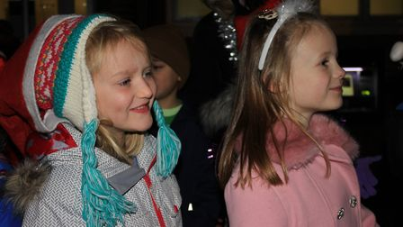Sheringham Primary School infant choir on stage at the town's Christmas lights switch-on celebration