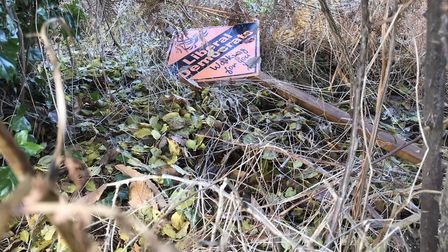 A Liberal Democrat election sign on Horning Road, Hoveton, which was damaged. Picture: Kevin Geary