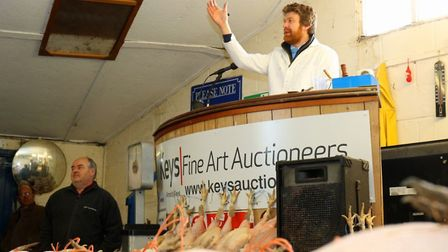 Auctioneer David Gould on the rostrum at the Keys Christmas poultry sale 2018. Pictures: Newman Asso