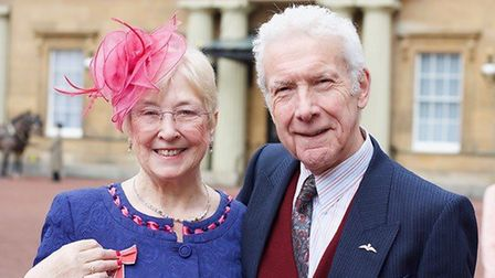 Maggie Dixon at Buckingham Palace after receiving her MBE, with husband Nigel Dixon. Picture: Suppli