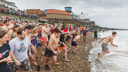 Sheringham New Year's Day dip, which kicks off at 11.30 from the town's east beach.Photo: CHRIS TAYL