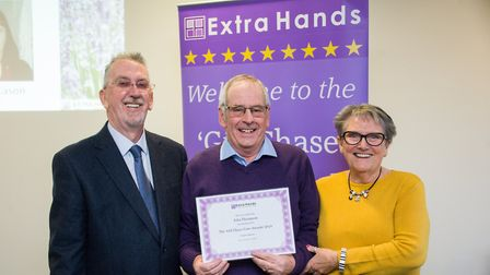 John Thompson, centre, with David and Hazel Evan from Extra Hands. Picture: Ian Burt