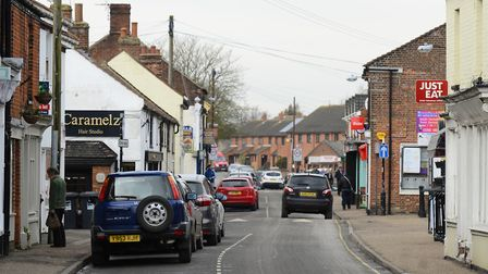 Stalham's High Street, which is closed following a burst water main Picture: MARK BULLIMORE