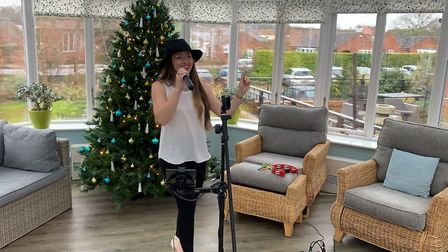 Maria Elayna singing at Halsey House in Cromer. Picture: Stuart Anderson