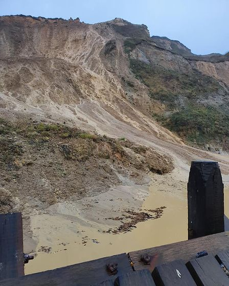 A large amount of earth fell from the cliffs at Trimingham in north Norfolk. Picture: Pete Revell/HM