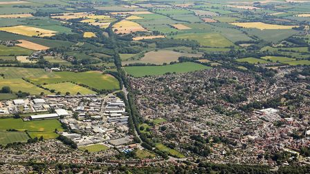 Aerial view of North Walsham, where a major gas mains renewal project is set to get under way. Pictu