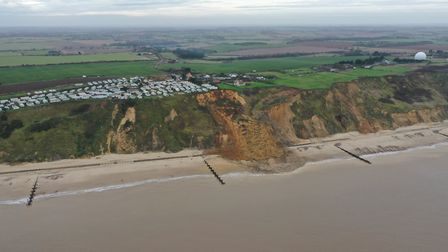 An image from a drone of the cliff fall at Trimingham, taken on January 7, 2020. Image: BlueSky UAV