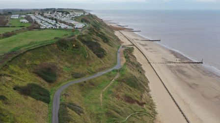 An image taken with a drone of the Trimingham cliffs, near the cliff fall, taken on January 7, 2020.