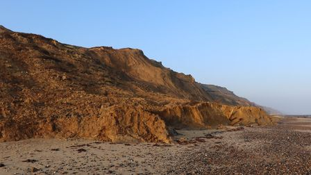 One month after a cliff fall at Trimingham on the north Norfolk coast, and there is still a lot of d