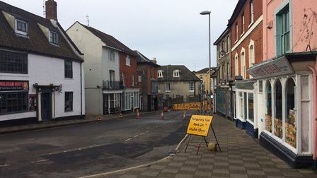 Market Street in North Walsham was like a ghost town on Saturday morning. Pictures: David Bale