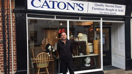 John Caton outside his shop in North Walsham. Pictures: David Bale