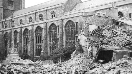 Clarkes' shop, Church Street, Cromer after a 1942 raid. Mr Clarke survived, but his wife was killed.