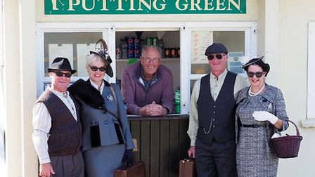 Peter Wragg, centre, at the Beeson Hills Putting Green with visitors dressed up for the 1940s weeken