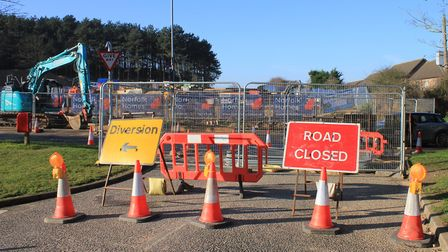 The entrance to Beech Avenue, Sheringham, which has been closed to allow contractors to lay sewage p