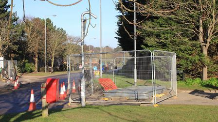 The cage blocking off the entrance to Beech Avenue, Sheringham.Photo: KAREN BETHELL