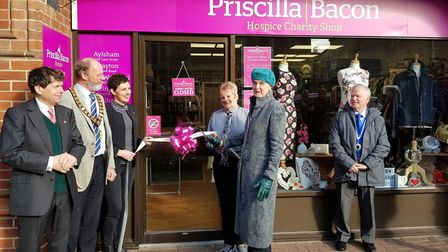 Lady Bacon cut the ribbon at the launch of the new Priscilla Bacon Lodge charity shop in Cromer. Pic
