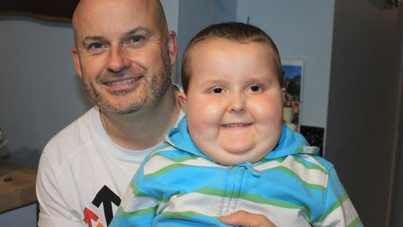 Six-year-old Benny Pitcher with his dad Kevin, who will be running the Brighton Marathon in April t