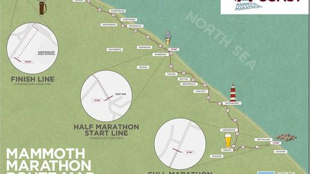 The route the Mammoth Marathon will follow. Picture: NNDC