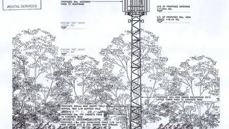 A drawing of the proposed telecommunications tower in Letheringsett, north Norfolk. Picture: Plannin
