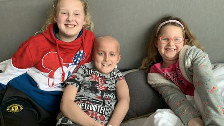 Harry Addy with two of his sisters who visited for the last five days of his treatment. Pictures: Me