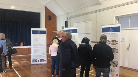 The exhibition at Hoveton village hall to discuss plans for more homes. Pictures: David Bale