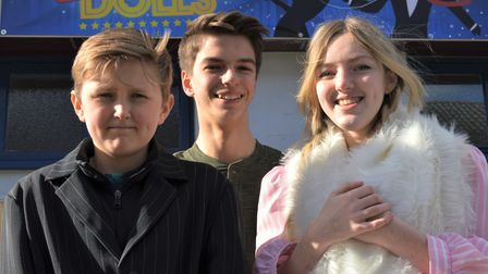 From left, James Shorten, Caius Law and Anwyn Chapman who play Nathan Detroit, Sky Masterson and Ade
