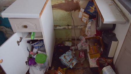 John Etheridge's flat in Stalham which has been left in a bad state by tenants. Byline: Sonya Duncan