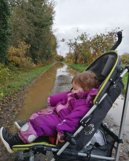 Richard Woods's grandaughter in Broad Fen Lane in Dilham, in front of the flooded road. Picture: Ric