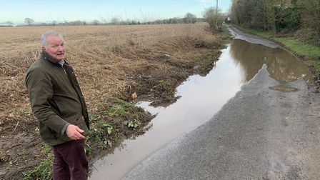 Richard Woods in Broad Fen Lane in Dilham, several days after it last rained. Picture: Richard Woods