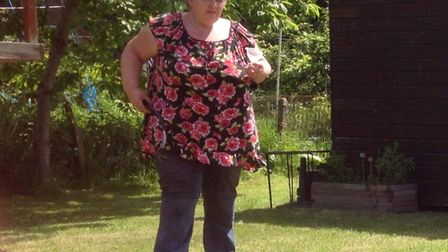 Sheringham charity shop worker Cindy Farrow before her amazing eight-and-a-half stone weight loss.Ph