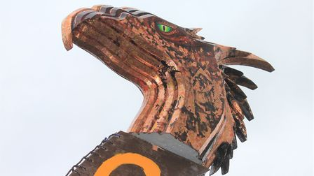 The gold and copper leaf dragon's head painted by aritst Brian Lewis for Sheringham Viking Festival'