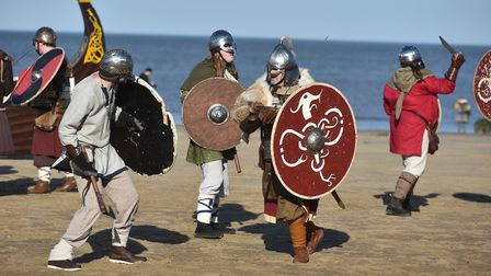 Wuffa Saxon and Viking re-enactors will be staging battles on the beach on Saturday.Photo: SONYA DUN